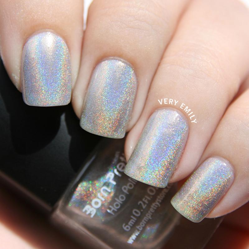 1 Bottle 6ml Born Pretty Holographic Holo Glitter Silver Nail Polish Varnish Hologram Effect Nail Polish1#
