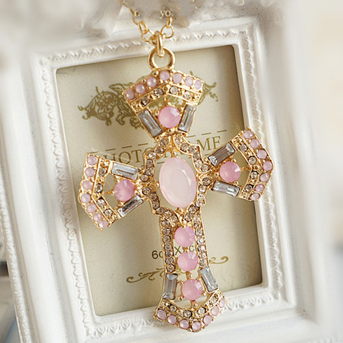 [Min.$10] super deals hot selling Sweet lovely pink crystal cross pendant necklace for women free shipping N322(China (Mainland))