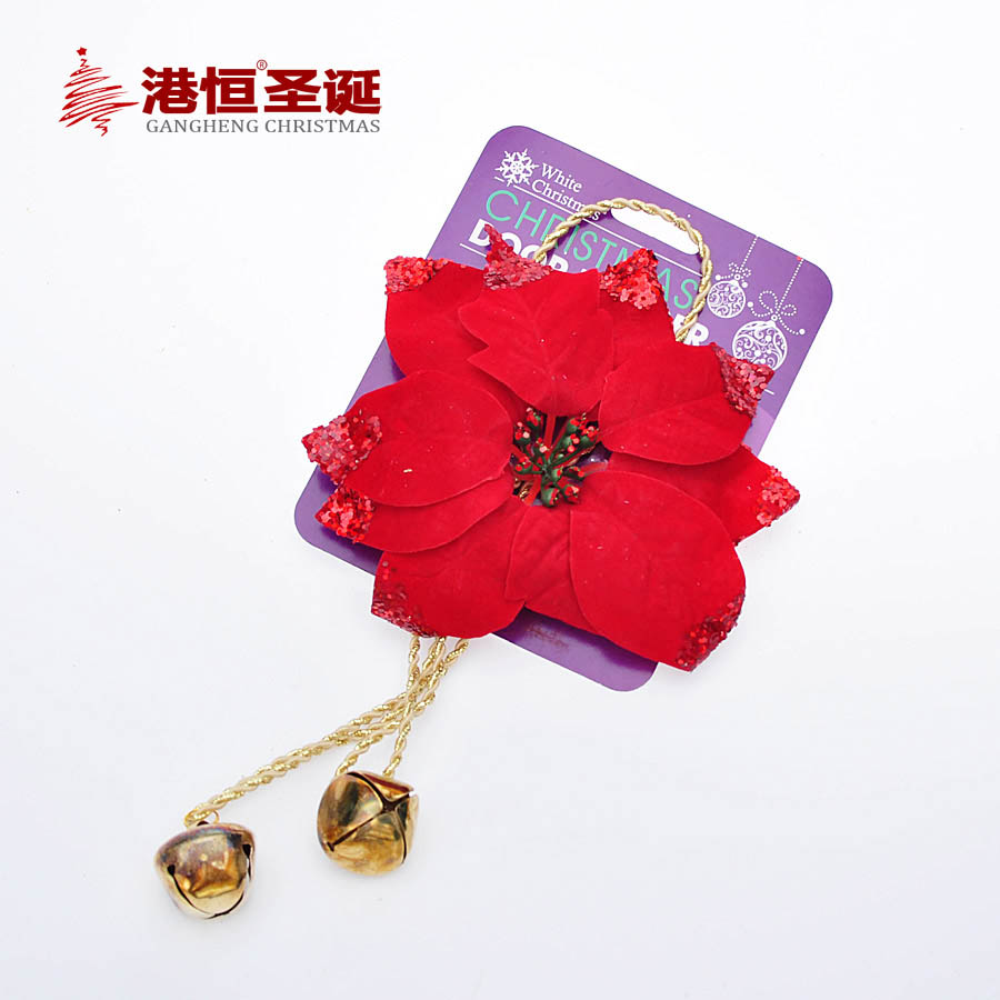 15cm Red Artificial Flower Small Bell Wedding Party Decor Christmas Flowers Xmas Tree Decorations XmasF042(China (Mainland))