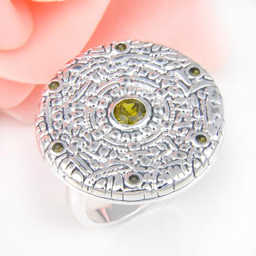 Promotion Jewelry Luckyshine Nice Fire Round Peridot Shine Silver Plated Wedding Rings Russia USA Holiday Australia Rings(China (Mainland))