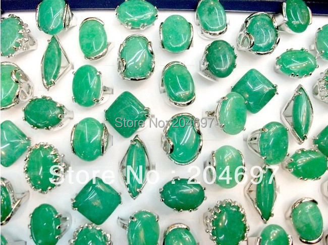 50pcs Natural Green Stone Alloy Rings Fashion Women Jewelry Ring Wholesale Lots Free Shipping