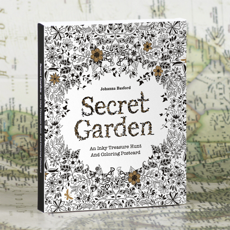 30 Sheets Set English Edition Secret Garden Adult Antistress Coloring Book Tintage Postcards DIY