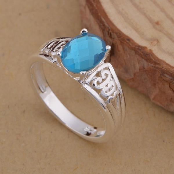 Fashion big sky blue stone Rings 2015 Lady Rings dark blue CZ White Silver skeleton Rings For men women wedding Ring free AR1021(China (Mainland))