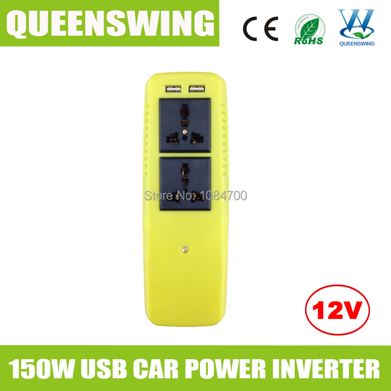 2015 new green socket designed 150w modified car power inverter with 2 USB 5V 2000mA to charge iphone ipad cell phone(QW-C150RC)(China (Mainland))