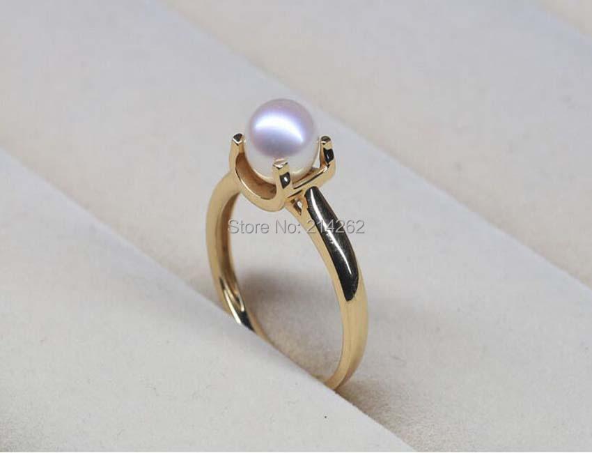 wonderful 7mm round 18k yellow gold natural genuine Nanyang seawater pearl rings AAAA F34#<br><br>Aliexpress