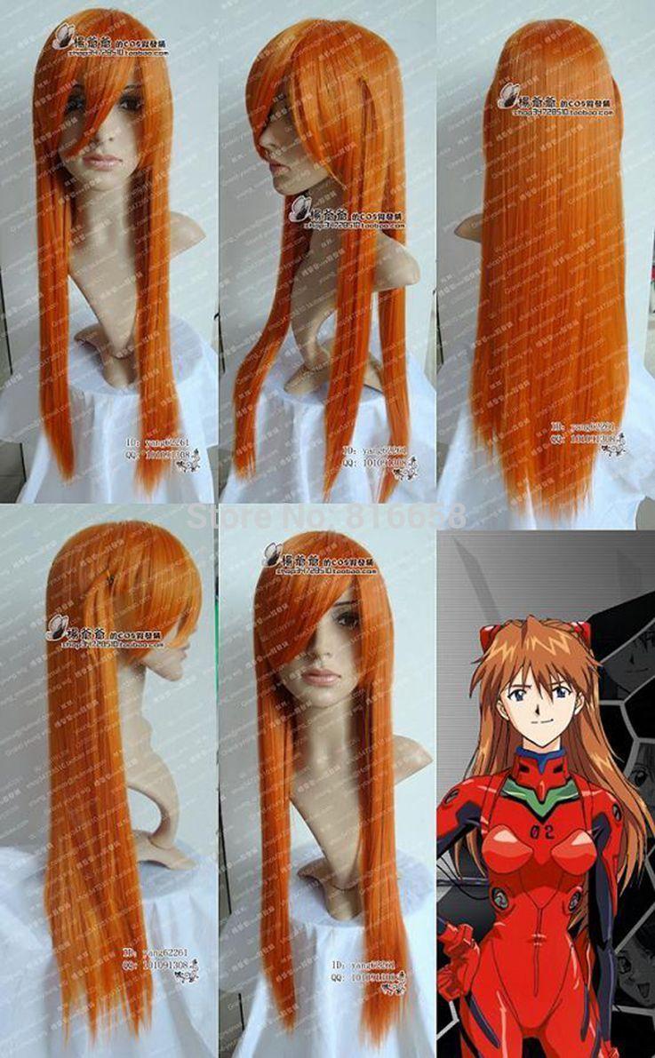Free shipping@@NEON GENESIS EVANGELION Cosplay Long Orange Blonde Wig(China (Mainland))