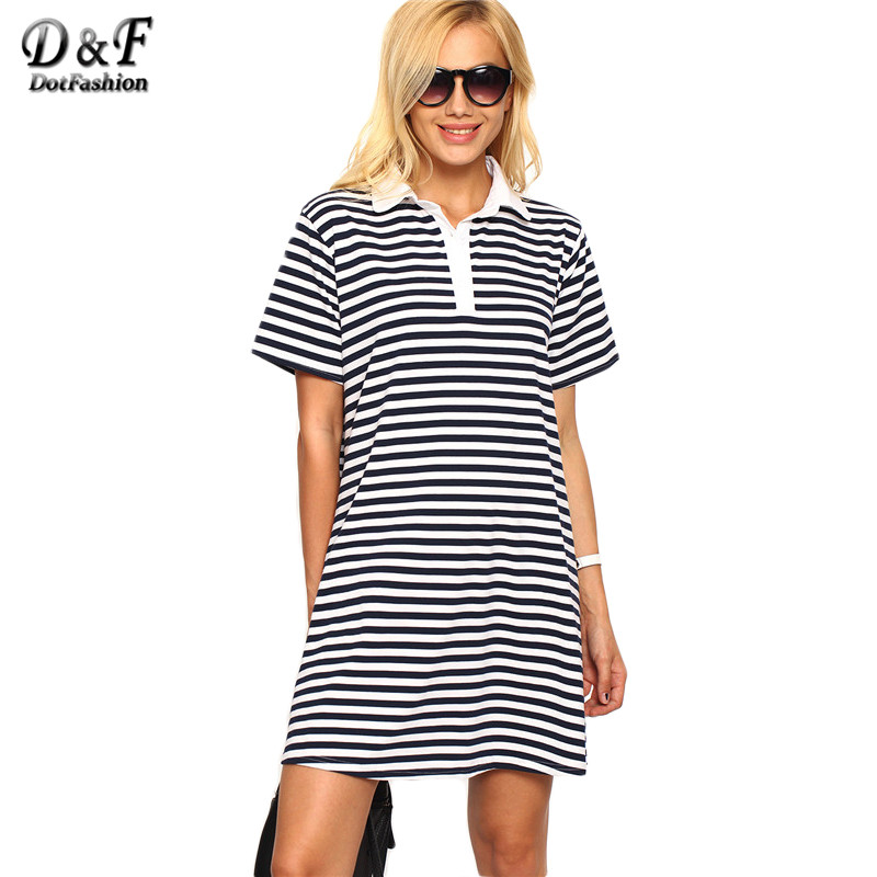 Dotfashion Ladies Navy and White Striped Loose-Fit Polo Dress 2016 Lapel Short Sleeve Shift Mini Tshirt Dress(China (Mainland))