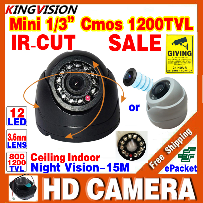 Free Shipping!1/3cmos 800TVL/1200TVL Mini Indoor Dome Hd Cctv Security Camera Day/Night Video IR-cut 12LED Infrared Night Vision(China (Mainland))