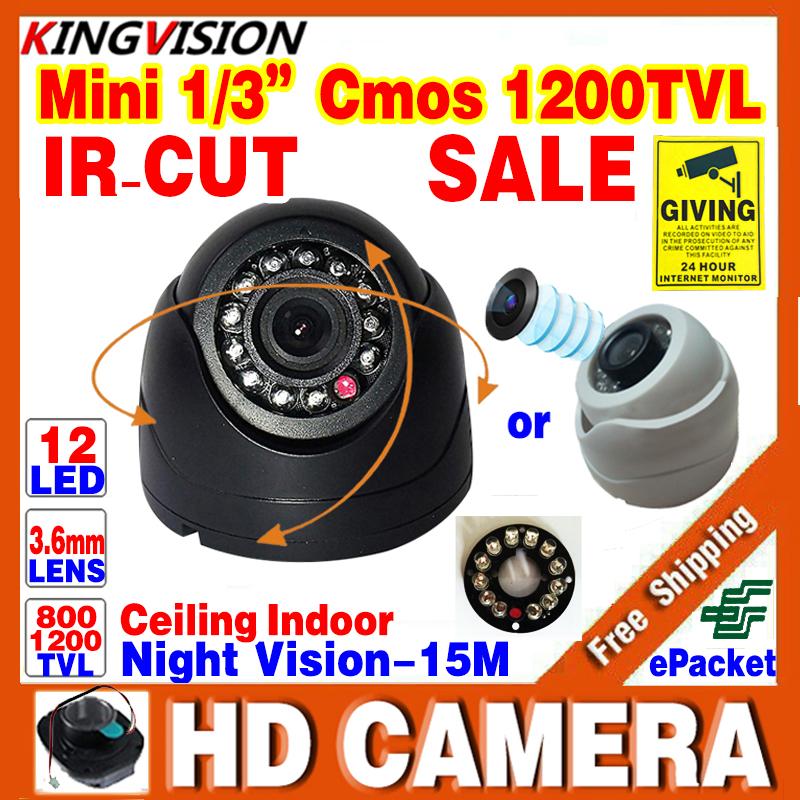 Free Shipping!1/3cmos 800TVL/1200TVL Mini Indoor Dome Hd Cctv Security Camera Day/Night Video IR-cut 12LED Infrared Night Vision(China (Mainland))