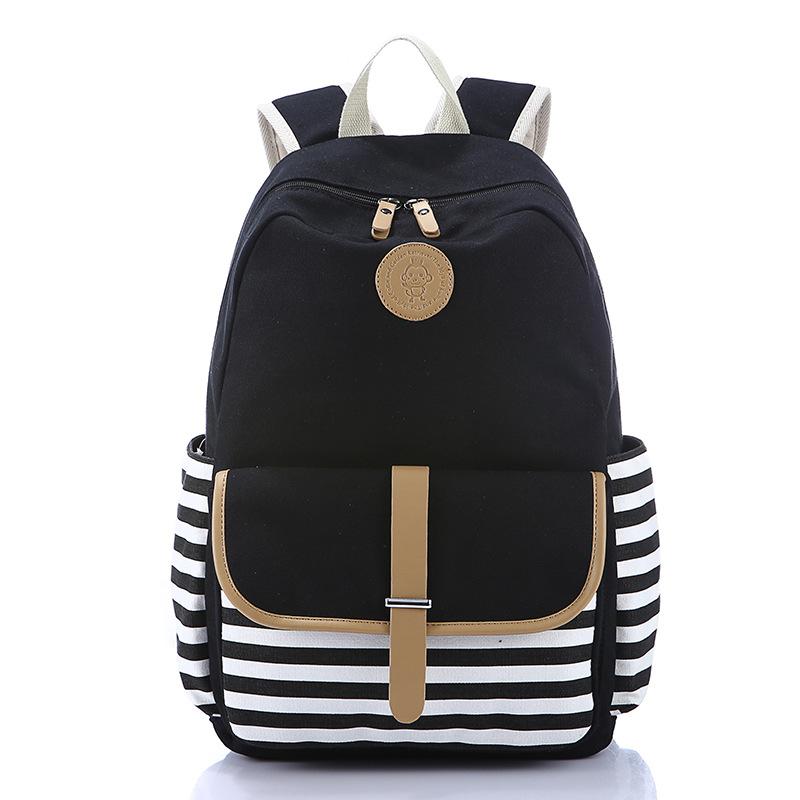 LEFTSIDE 2016 school bags backpack for girls teenagers cute canvas striped printing women backpack bag Female school back packs(China (Mainland))