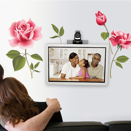 2016 Free Shipping Wall stickers romantic pink roses decorative wall sticker living room bedroom nightstand Decorative stickers(China (Mainland))