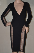High Quality HL Black Lace V-neck Long Sleeve 2 Pieces Bandage Dress Sexy Bodycon Dress Cocktail Party Dress