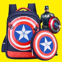 2016 New Cool Captain America Cartoon Schoolbag High Quality Kids Student  Backpack Child  Boy Bag(China (Mainland))