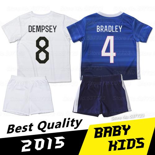 Soccer Kids 2015 BRADLEY DEMPSEY Football Kids Soccer Jersey Best Thai Quality 15 16 Soccer Uniforms kids football kits(China (Mainland))