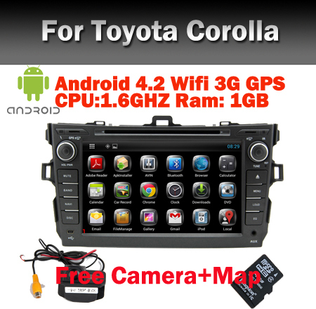 """8"""" HD Touch Screen Car PC Android 4.2 Car DVD for Toyota Corolla  GPS Bluetooth Radio TV USB SD PIP  Steering wheel control"""