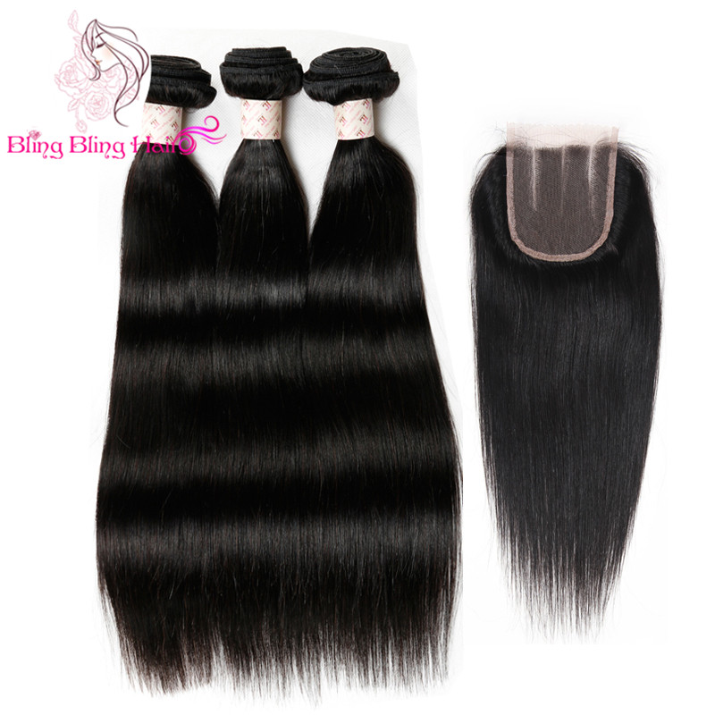 Brazilian Virgin Straight Hair With Closure Queen Weave Beauty Closure And Bundle 7a Mink Brazilian Hair With Closure Hair Weft<br>