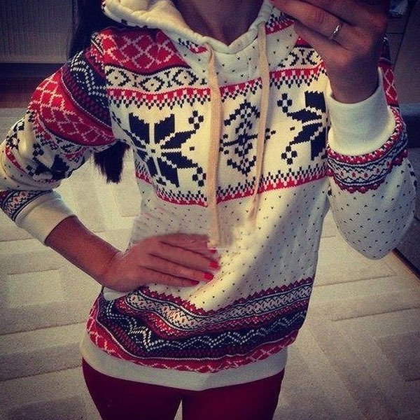 Autumn Winter Women Xmas Snowflake Sweatshirt Hoodies Top Sweats Fleece Pullover Outwear Coat Clothing FREE SHIPPING(China (Mainland))