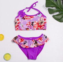 Новинка 2019 года, одежда для купания для девочек возрастом от 2 до 14 лет, пляжная одежда для детей милые купальные костюмы стильное бикини с ки...(China)