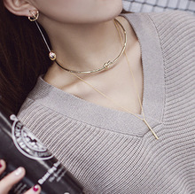 South Korea and the wind are metal plated double chain collar short chain necklace collar personality female Necklace 0205(China (Mainland))