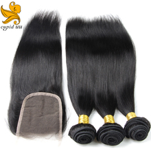 Unprocessed 3/4 bundles with closure human hair weave with 4*4 lace closure brazilian virgin hair straight with closure