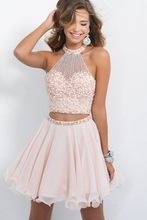 Luce rosa in rilievo a buon mercato carino 8th grade breve 2 due pezzi abiti homecoming 2015(China (Mainland))