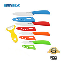 """FINDKING brand colorful kitchen knives set 3"""" 4"""" 5"""" 6"""" inch + Peeler + Covers White blade ABS Handle ceramic knife Paring knives(China (Mainland))"""