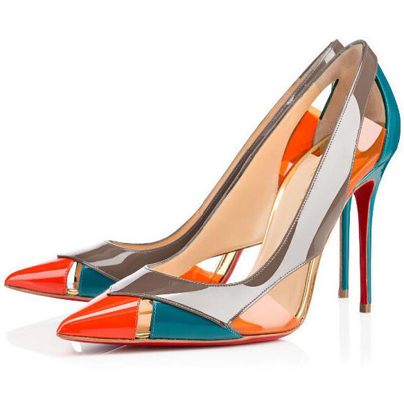 Dreamlike Brand Patent Leather Ladies Shoes Patchwork Stiletto High Heels Sandals Female Sexy Fashion Women Pumps