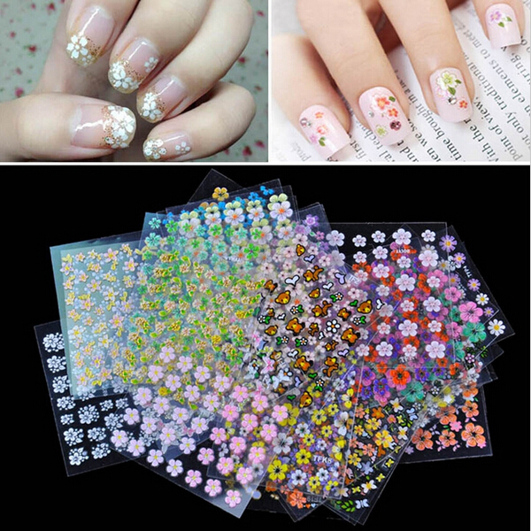 50 Sheets Beauty Floral Design Patterns Nail Stickers Mixed Decals Transfer Manicure Tips 3D Nail Art Decorations(China (Mainland))