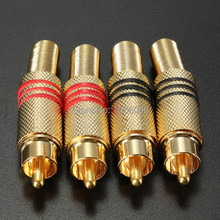 High Quality Brand New 4Pcs Gold Plated RCA / Phono Male Plug Connectors Cable Protector Red & Black Free Shipping