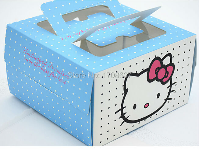 16*16*9.5cm Blue paper cake boxes with handle(China (Mainland))