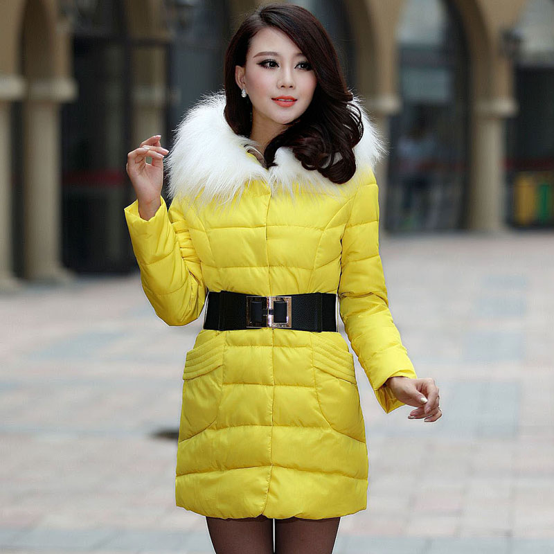 Фотография 2013 women autumn winter fashion candy color faux wool fur collar hood Slim long thick cotton-padded coatM/L/XL D2151
