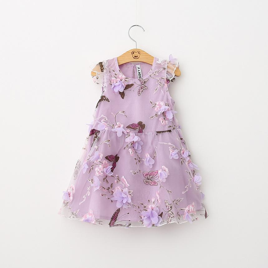 2016 New Kids Girls Butter Fly Flower Party Dress Princess Western Fashion Organza Dress Purple and Pink Color Summer Dress(China (Mainland))