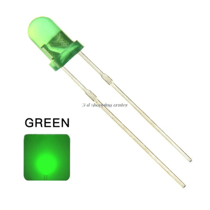 Smart Electronics 100pcs/lot F5 5MM Round Green Color Highlight Diffused Round DIP Light-Emitting Diode LED Lamp Light(China (Mainland))