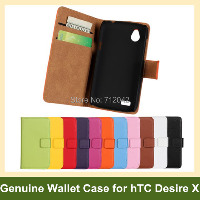 100pcs/lot Genuine Leather Folding Wallet Flip Cover Case for hTC Desire X T328e DHL/EMS Free Shipping