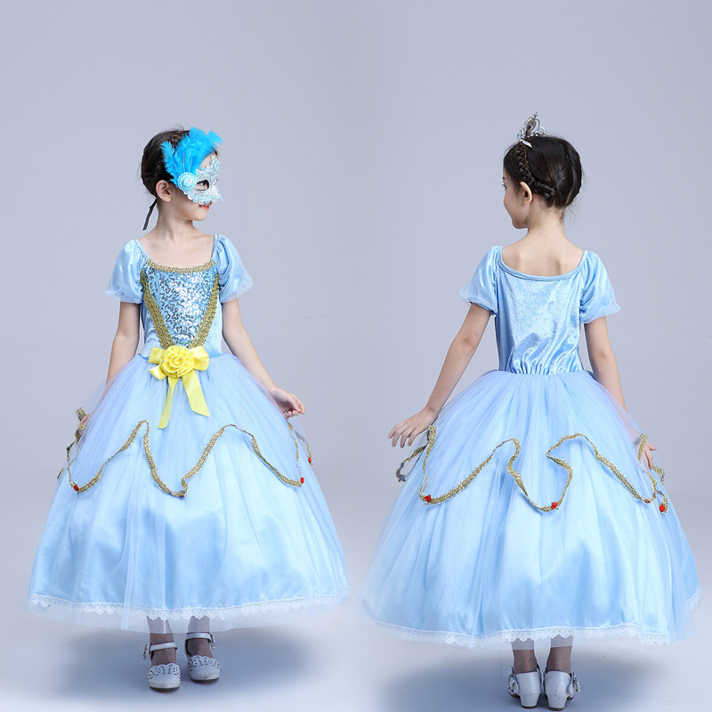 Скидки на Весна Лук Дети Девушки Свадебное Платье Золушка Принцесса Детская Одежда Голубой Сетки Кружево Лук