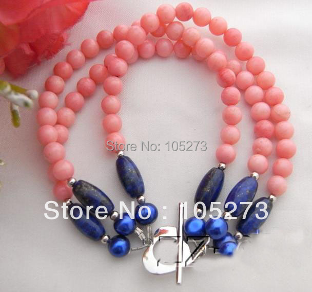 New Arriver Chirstmas Jewellery ! Stunning Blue Genuine Pearls &amp; Lapis &amp; Pink Coral Bracelet 4-8MM 8inch Hot Sale Free Shipping<br><br>Aliexpress