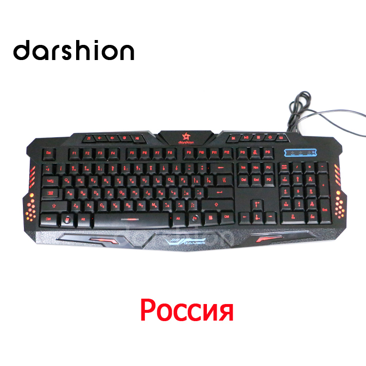 Russian keyboard Tri-color backlit keyboard can be switched colors professional gaming keyboard Computer Accessories(China (Mainland))