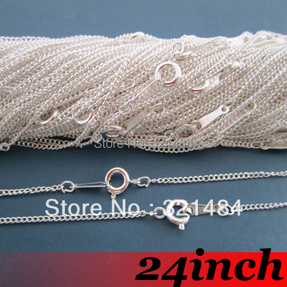 Free Ship! 100piece 2mm 24 Silver Plated Curb Metal Link Chain Necklace with Spring Clasp Findings For Pendant Jewelry<br><br>Aliexpress