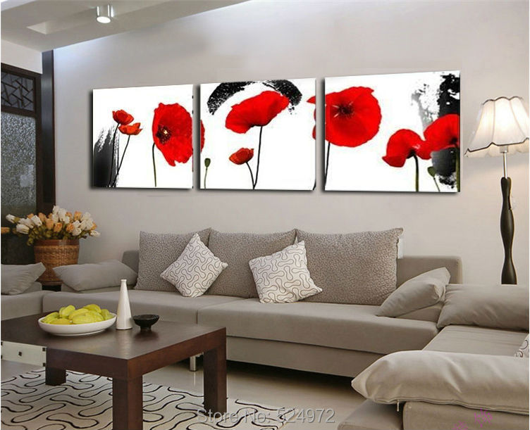 Top sales 3 Piece Modern Wall Painting Red Poppies Flower Print On Canvas painting for Living Room wall decor picture no frame(China (Mainland))