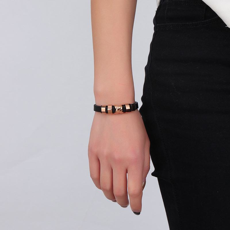 Mens Womens Bracelets Punk Rock Glamor Real Leather Bracelet Men Rose Gold-Color Stainless Steel Clasp Wristband Durable Jewelry(China (Mainland))