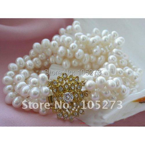 6Row AA 6-7MM White Color Rice Shaper Genuine Freshwater Cultured Pearl Bracelet Fashion Pearl Jewelry Free Shipping FN1548