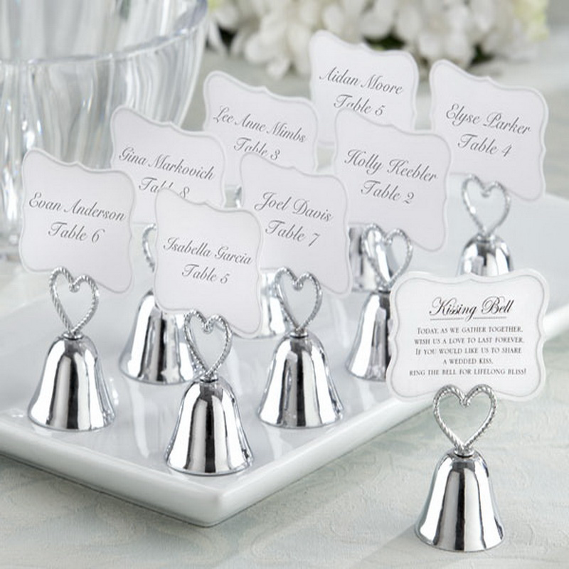 "18pcs/lot+FREE SHIPPING+""Kissing Bell"" Silver Bell Place Card Holder/Photo Holder Wedding Table Decoration Favors(China (Mainland))"