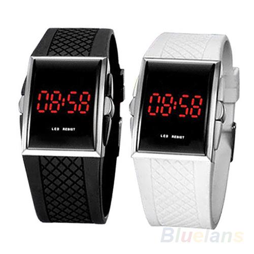 Мужчины женщины свободного покроя мужская белый черный из светодиодов цифровой спортивные наручные часы наручные часы дата часы 01KT 4MTT