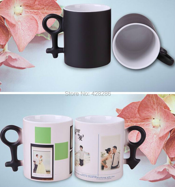 Free Ship Cup Color Changing Mug Cup Magic Mug High Quality Ceramic Coffee Cup Temperature Changing Mug Valentine's Day Gift(China (Mainland))