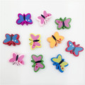 23 17mm Hot Selling Cartoon Butterfly Wood Wooden Spacer Beads Fit Children DIY Jewelry Mixed Color