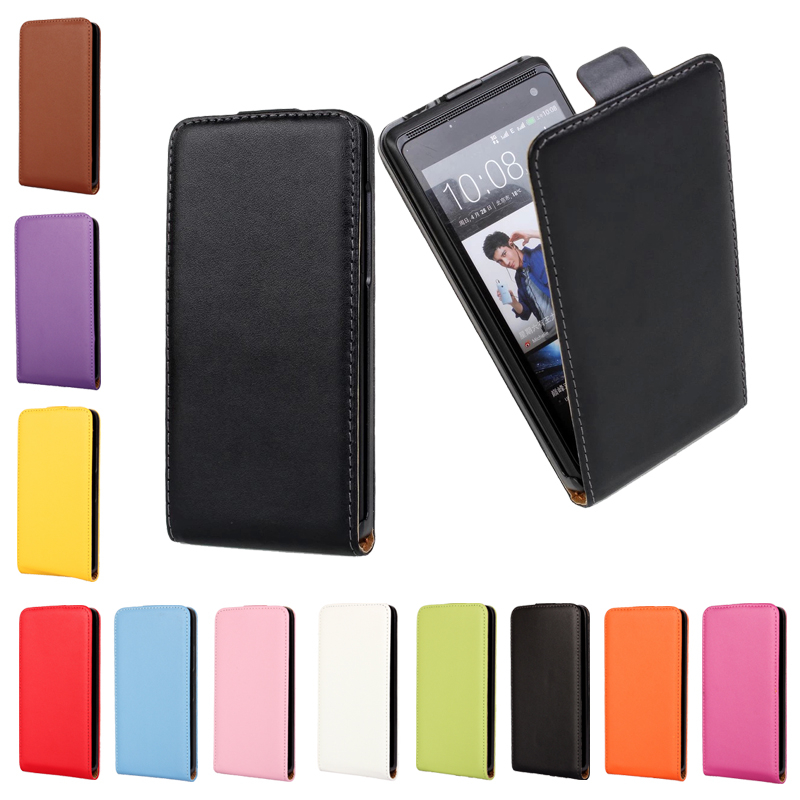 Genuine Leather Magnetic Up Pouch Cover For HTC Desire C X SV EYE 300 310 500 510 526 600 601 610 816 Vertical Flip Case(China (Mainland))