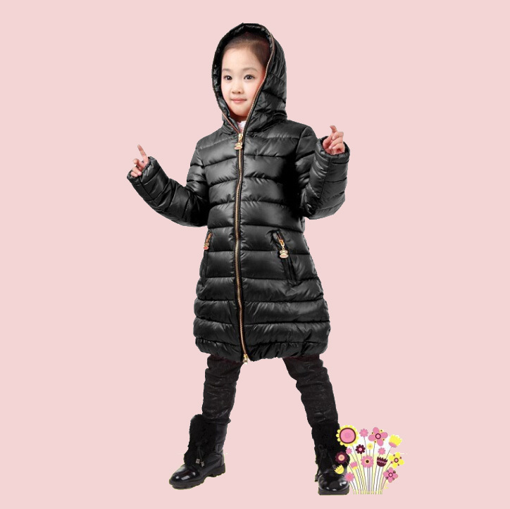 Fashion NEW 2015 Girls Coats Casual Hooded Winter Down Jacket For Girl Clothing Long Warm Outerwear Fast Shipping yrf19(China (Mainland))