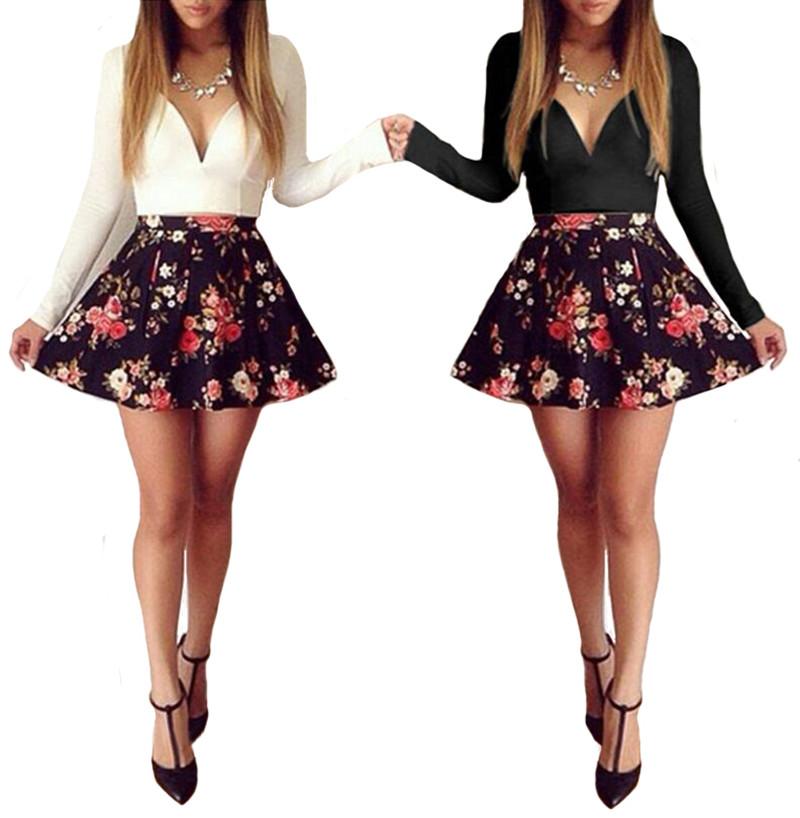 ACEVOG Women Sheer Floral Mini Skater Dress SeeThrough