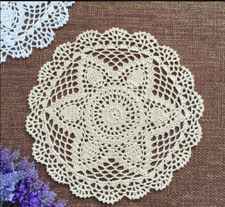 12pcs 30CM Cotton Lace cotton fabric doily Round flower america Doilies crochet Placemat Tableware mat Decoration Free Shipping(China (Mainland))