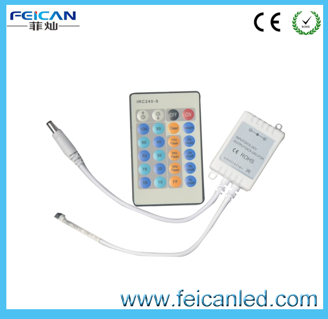 Free Shipping DC12v 24v 24 Key IR Wireless led Remote Controller For Single Color 3528 5050 Led Strips(China (Mainland))